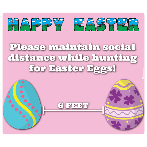 """Easter, Social Distancing"" Adhesive Durable Vinyl Decal- Various Sizes Available"