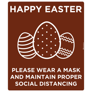 """Easter, Wear a Mask and Maintain Social Distancing"" Adhesive Durable Vinyl Decal- Various Sizes/Colors Available"