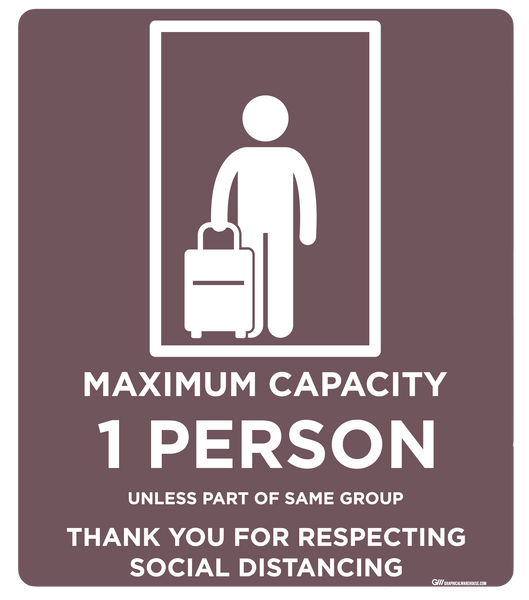 """Elevator Capacity One"" Adhesive Durable Vinyl Decal- Various Sizes/Colors Available"