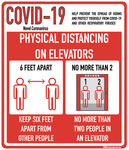 """Social Distancing On Elevators"" Adhesive Durable Vinyl Decal- Various Sizes/Colors Available"