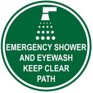 """Emergency Shower and Eye Wash, Keep Clear Path"" Durable Matte Laminated Vinyl Floor Sign- Various Sizes Available"