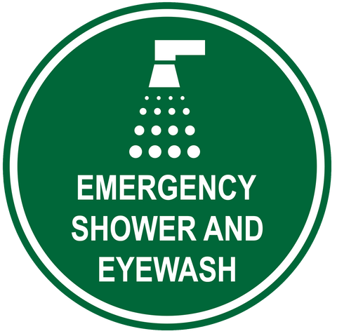 """Emergency Shower and Eyewash"" Durable Matte Laminated Vinyl Floor Sign- Various Sizes Available"