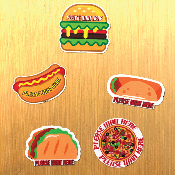 Food Themed Social Distancing Floor Place Marker- Durable Matte Laminated Vinyl Floor Sign, Pack of 10- Various Styles Available