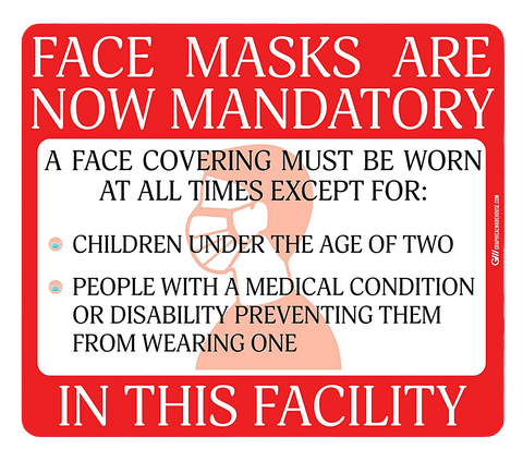 """Face Masks Are Now Mandatory In This Facility"" Adhesive Durable Vinyl Decal- Various Sizes/Colors Available"