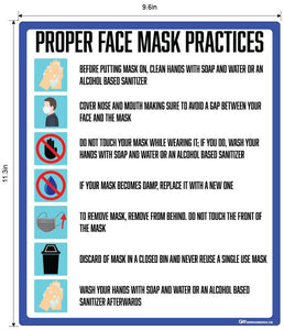 """Proper Face Mask Practices"" Adhesive Durable Vinyl Decal- Various Sizes Available"