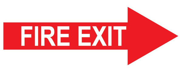 "Fire Safety ""Fire Exit"" Arrow, Durable Matte Laminated Vinyl Floor Sign- Various Sizes Available"