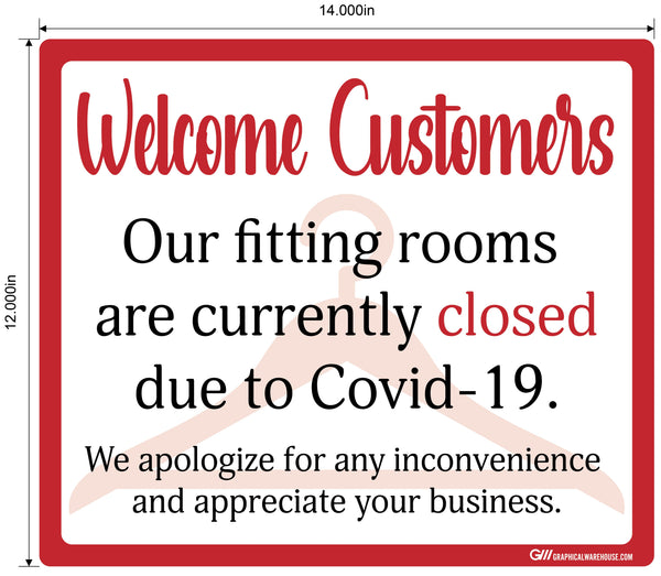 """Fitting Rooms Closed"" Adhesive Durable Vinyl Decal- Various Sizes/Colors Available"