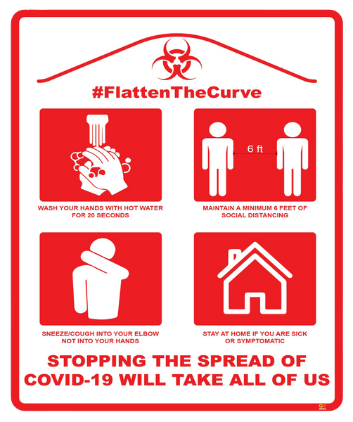 """Flatten The Curve"" Adhesive Durable Vinyl Decal- 12x14.5"""