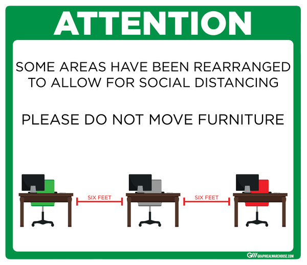 """Furniture Rearranged for Social Distancing"" Adhesive Durable Vinyl Decal- Various Sizes/Colors Available"