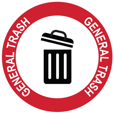 """General Trash"" Durable Matte Laminated Vinyl Floor Sign- Various Sizes Available"