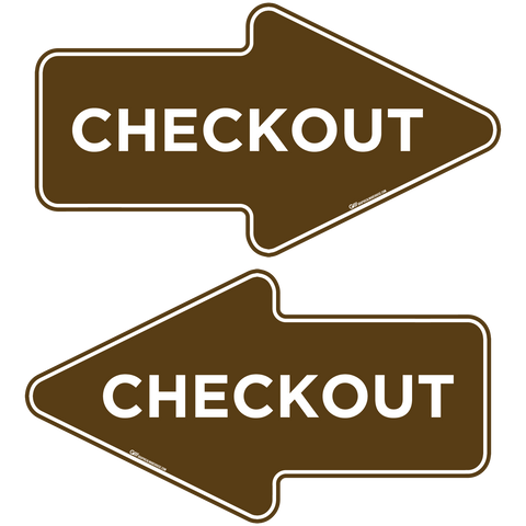 """Checkout"" Wayfinding Arrows, 10 Pack- Durable Matte Laminated Vinyl Floor Sign- 15.95x8.7"""