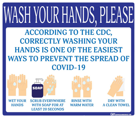 """Wash Your Hands Please"" Guidelines, Adhesive Durable Vinyl Decal- Various Sizes/Colors Available"