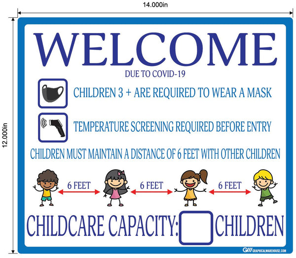 Childcare COVID-19 (Coronavirus) Guidelines- Adhesive Durable Vinyl Decal- Various Sizes/Colors Available