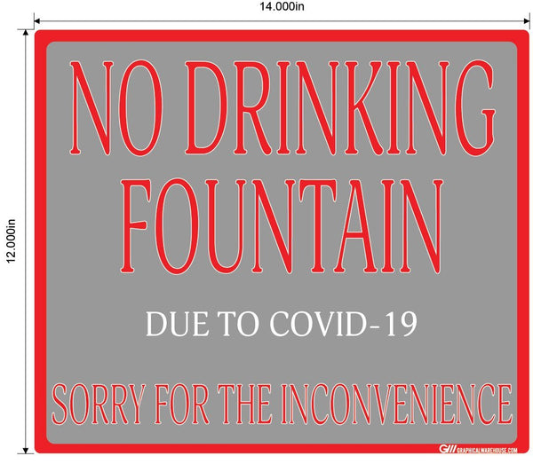 """No Drinking Fountain"" Adhesive Durable Vinyl Decal- Various Sizes/Colors Available"