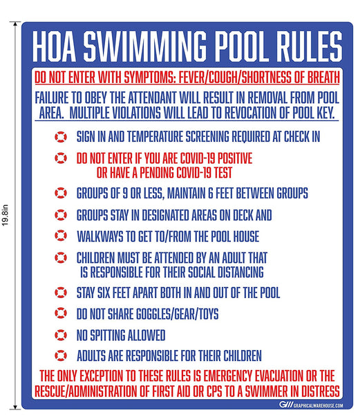 """Home Owners Association Swimming Pool Rules"" Adhesive Durable Vinyl Decal- Various Sizes Available"