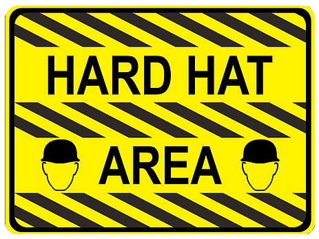 """Hard Hat Area"" Durable Matte Laminated Vinyl Floor Sign- Various Sizes Available"