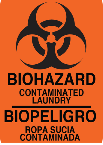 "Biohazard ""Contaminated Laundry"" English and Spanish, Durable Matte Laminated Vinyl Floor Sign- Various Sizes Available"