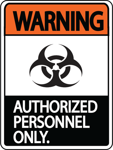 "Warning ""Authorized Personnel Only"" Durable Matte Laminated Vinyl Floor Sign- Various Sizes Available"