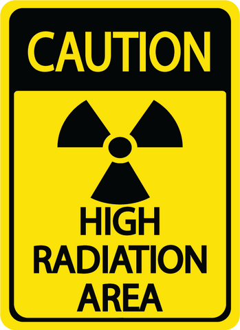 "Caution ""High Radiation"" Durable Matte Laminated Vinyl Floor Sign- Various Sizes Available"