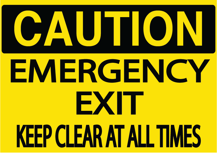 "Caution ""Emergency Exit"" Durable Matte Laminated Vinyl Floor Sign- Various Sizes Available"