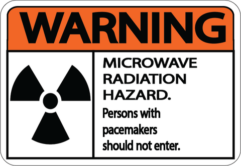 "Warning ""Microwave Radiation Hazard"" Durable Matte Laminated Vinyl Floor Sign- Various Sizes Available"