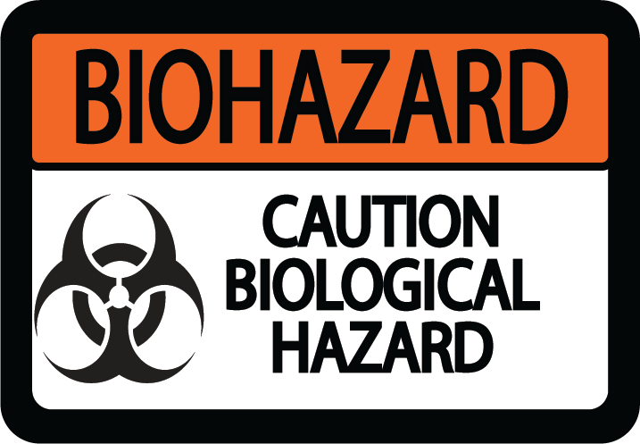 "Biohazard ""Caution Biological Hazard"" Durable Matte Laminated Vinyl Floor Sign- Various Sizes Available"