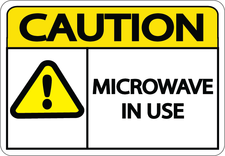 "Caution ""Microwave in Use"" Durable Matte Laminated Vinyl Floor Sign- Various Sizes Available"
