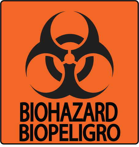 """Biohazard"" English and Spanish, Durable Matte Laminated Vinyl Floor Sign- Various Sizes Available"