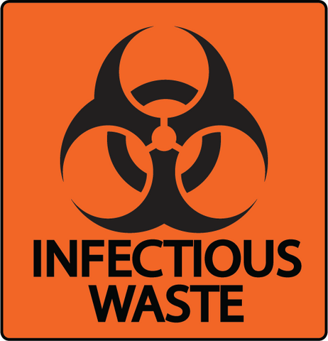 "Biohazard ""Infectious Waste"" Durable Matte Laminated Vinyl Floor Sign- Various Sizes Available"