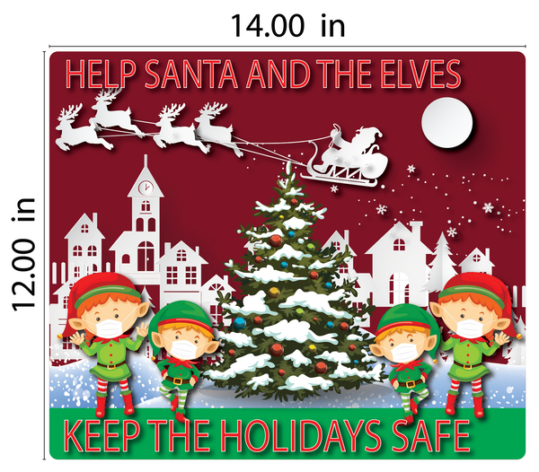 """Keep Santa, Elves, and the Holidays Safe"" Adhesive Durable Vinyl Decal- Various Sizes Available"