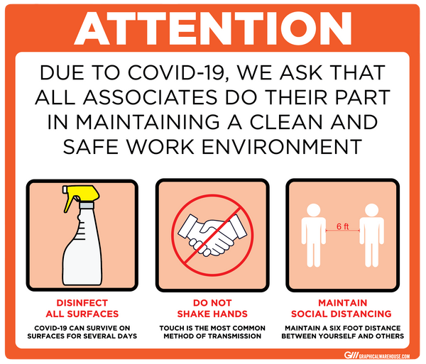 """Maintain a Clean and Safe Work Environment"" Adhesive Durable Vinyl Decal- Various Sizes/Colors Available"