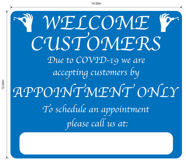 "Nail Salon ""By Appointment Only"" Adhesive Durable Vinyl Decal- Various Colors Available- 14x12"""