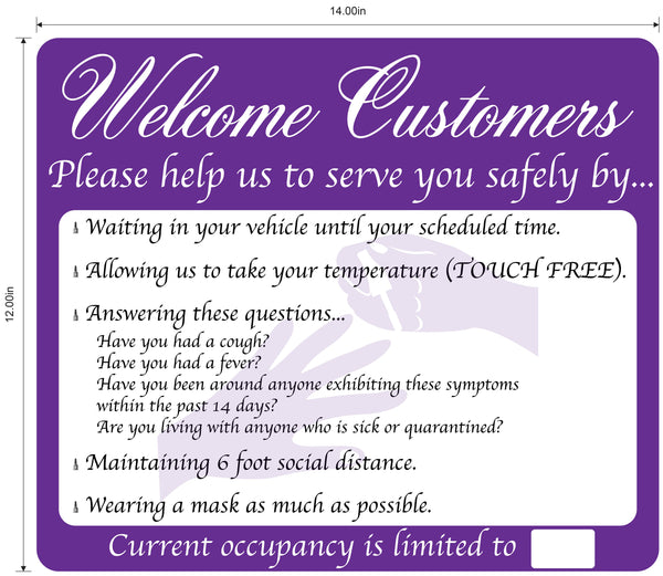 Nail Salon, Coronavirus Guidelines- Adhesive Durable Vinyl Decal- Various Colors Available- 14x12""