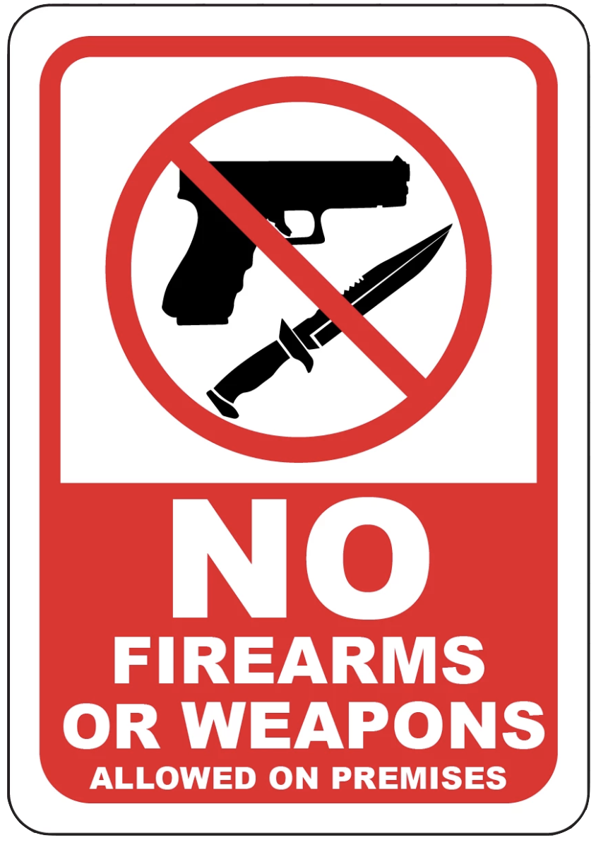 """No Firearms or Weapons Allowed on Premises"" Laminated Aluminum 2-Way Sign"