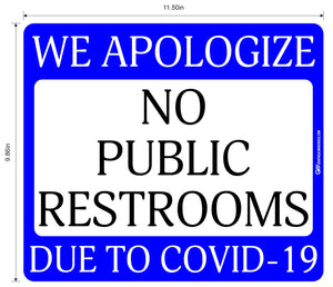 """No Public Restrooms"" Adhesive Durable Vinyl Decal- Various Sizes/Colors Available"
