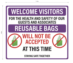 """No Reusable Bags at This Time"" Adhesive Durable Vinyl Decal- Various Colors Available- 11.5x9.88"""