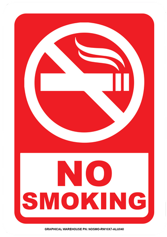"""No Smoking"" Laminated Aluminum 3-Way Sign"