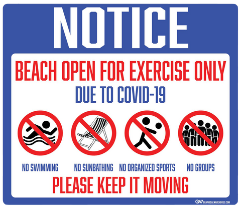 """Notice: Beach Open for Exercise Only"" Adhesive Durable Vinyl Decal- Various Sizes Available"