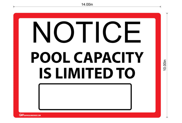 """Notice: Pool Capacity""  Adhesive Durable Vinyl Decal- Various Colors Available- 14x10"""