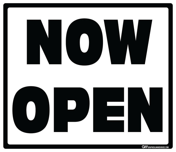 """Now Open"" Adhesive Durable Vinyl Decal- Various Sizes/Colors Available"