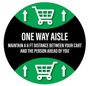 """One Way Aisle"" Durable Matte Laminated Vinyl Floor Sign- 17"""