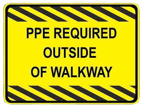 """Personal Protective Equipment Required Outside of Walkway"" Durable Matte Laminated Vinyl Floor Sign- Various Sizes Available"