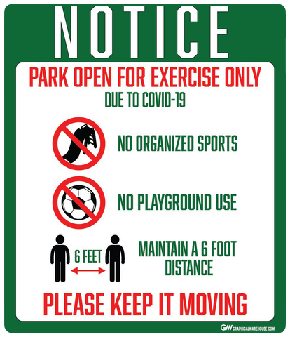 """Notice: Park Open for Exercise Only"" Adhesive Durable Vinyl Decal- Various Sizes Available"