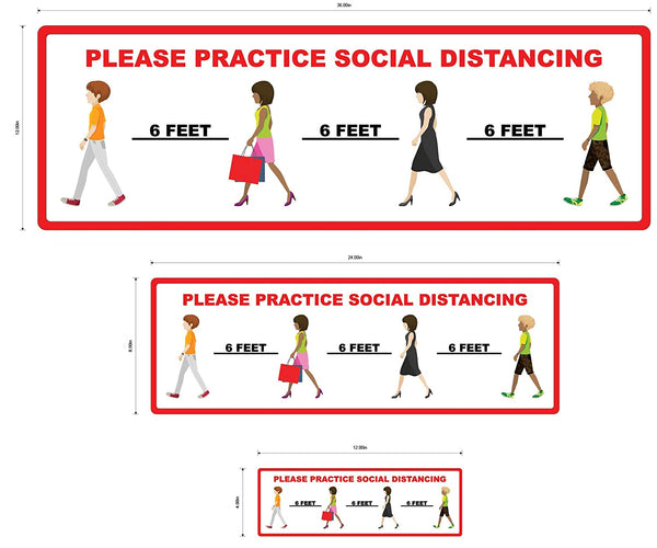 """Please Practice Social Distancing""Adhesive Durable Vinyl Decal- Various Sizes Available"