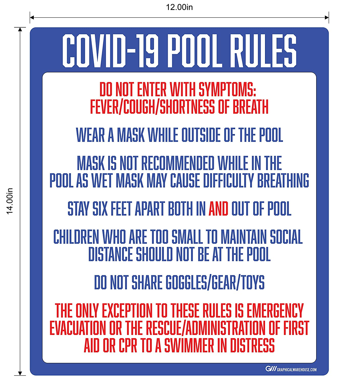 """COVID-19 Pool Rules"" Adhesive Durable Vinyl Decal- Various Sizes Available"