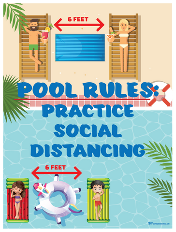 """Pool Rules, Practice Social Distancing"" Adhesive Durable Vinyl Decal- 10.5x14"""