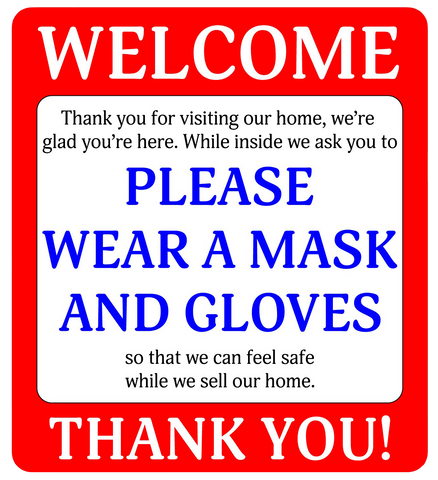 """Please Wear a Mask and Gloves"" Real Estate, Pack of 10- Adhesive Durable Vinyl Decal- 4.25x4.75"""