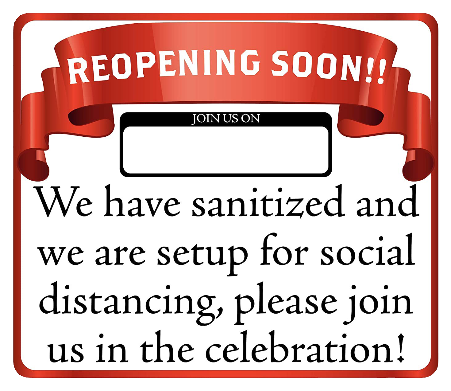 """Reopening Soon"" Social Distancing, Adhesive Durable Vinyl Decal- 14x12"""