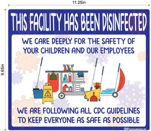 """Facility Disinfected for the Safety of your Children"" Version 1- Adhesive Durable Vinyl Decal- Various Sizes Available"