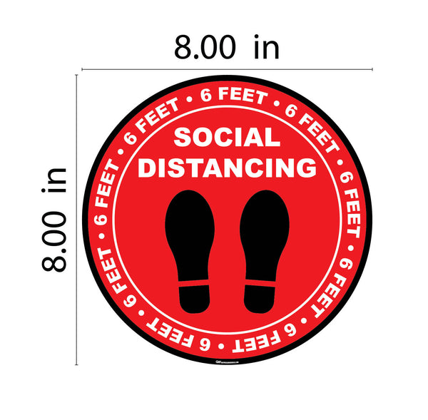 """Social Distancing"" Footprints Circle, 10 Pack- Durable Matte Laminated Vinyl Floor Sign- Various Sizes Available Sign"